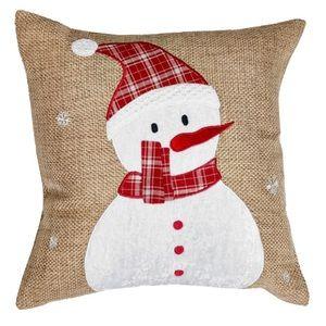 Burlap and plaid snowman pillows